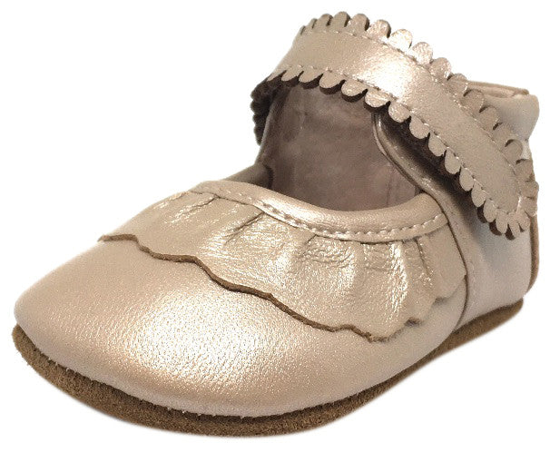 Livie & Luca Girl's Ruche Ruffled Champagne Shimmer Leather Hook and Loop Mary Jane Shoe