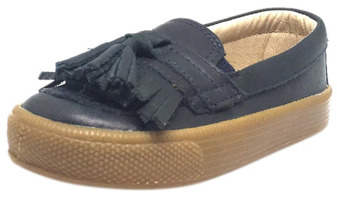 Old Soles Boy's and Girl's Distressed Navy Leather Domain Hoff Slip On Tassel Loafer Sneakers