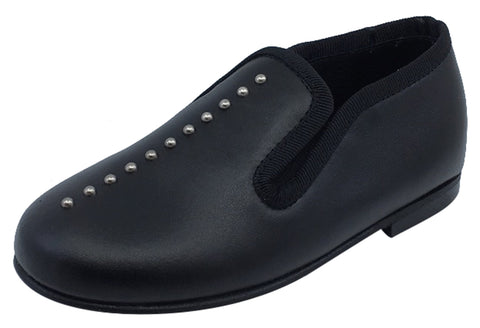 Luccini Studs Girl's Black Leather Slip On Dress Shoe