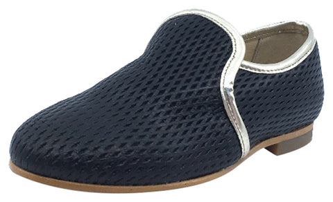 Luccini Girl's and Boy's Slip-On Smoking Loafer, Black Perforated Leather
