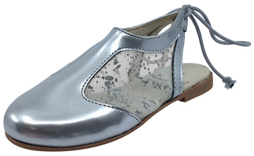 Luccini Girl's Silver Leather and Mesh Sling Back Mule Dress Sandal Shoes