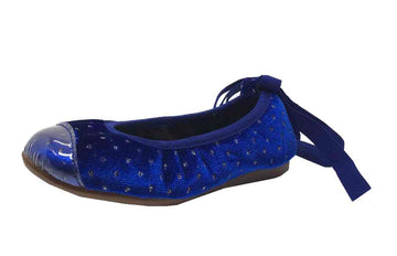 Papanatas by Eli Velvet Sparkle Cap Toe Elastic Lace Up Ankle Ballet Flats Royal Blue