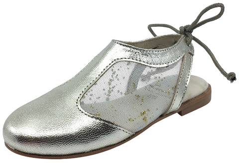 Luccini Girl's Gold Leather and Mesh Sling Back Mule Dress Sandal Shoe