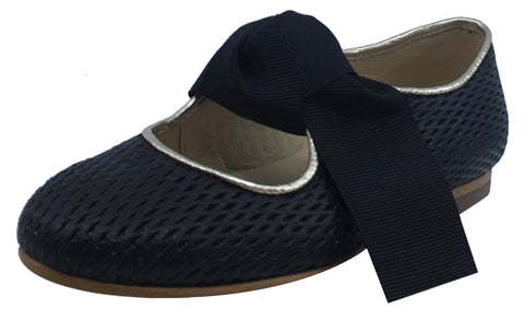 Luccini Girl's Tie-Front Mary Jane , Black Basket Weave