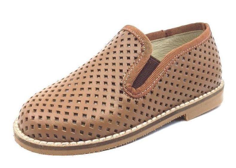 Luccini Boy's Basket Weave Tan Cuero Leather Smoking Loafer
