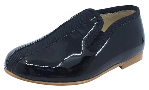 Luccini Boy's and Girl's Slip-On Smoking Loafer, Black Patent