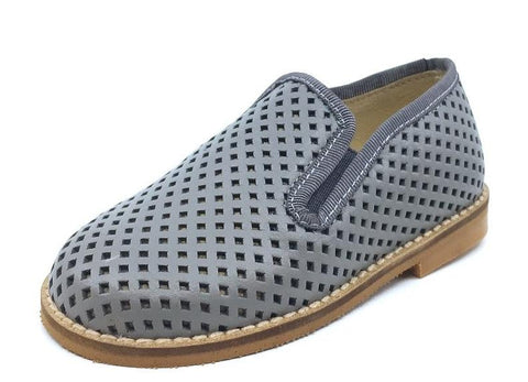 Luccini Basket Weave Grey Leather Smoking Loafer
