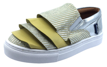 Atlanta Mocassin Girl's Slip-On Step-In Sneakers, Yellow, Gold, Silver