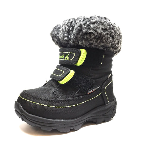 Kamik Boy's and Girl's Leaf Snow Boots, Black/Lime