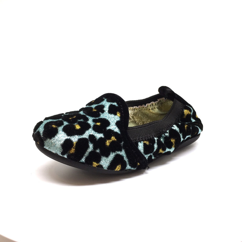 Yosi Samra Girl's Blue Topaz Leopard Print Leather Lined Elastic Foldable Non-Smoking Loafer