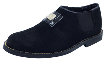 Luccini Maggie 2 Boy's & Girl's Black Suede Leather Slip On Dress Shoe