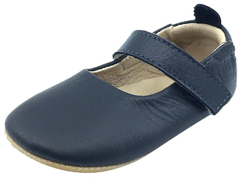 Old Soles Girl's Gabrielle Navy Blue Soft Leather Mary Jane Crib Walker Baby Shoes