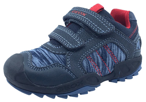 GEOX Boy's Savage Hook and Loop Closure Sneaker Tennis Shoes, Navy/Red