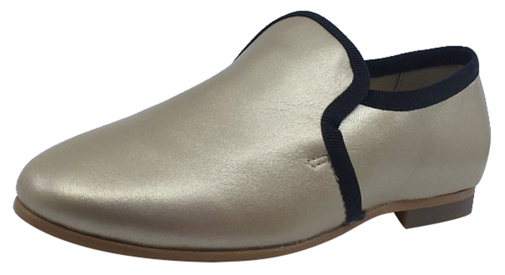 Luccini Girl's and Boy's Slip-On Smoking Loafer, Platino/Black Trim