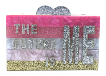 Bari Lynn Girl's The Future is Me Glitter Box Purse with Matching Chain Shoulder Strap