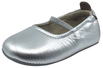 Old Soles Girl's 013 Luxury Ballet Flat Silver Soft Leather Elastic Mary Jane Crib Walker Baby Shoes