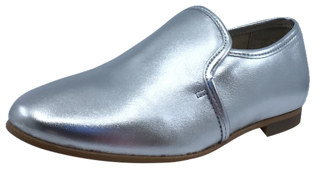 Luccini Girl's and Boy's Slip-On Smoking Loafer, Plata Silver