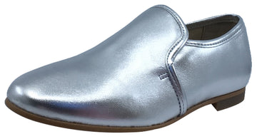 Luccini Slip-On Smoking Loafer, Plata Silver