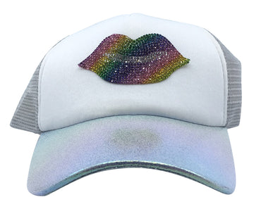 Bari Lynn Big Girl's/Women's Crystal Kiss Lips Trucker Hat