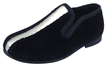 Luccini Splendid Girl's & Boy's Black Velvet Slip On Gold Leather Dress Shoe