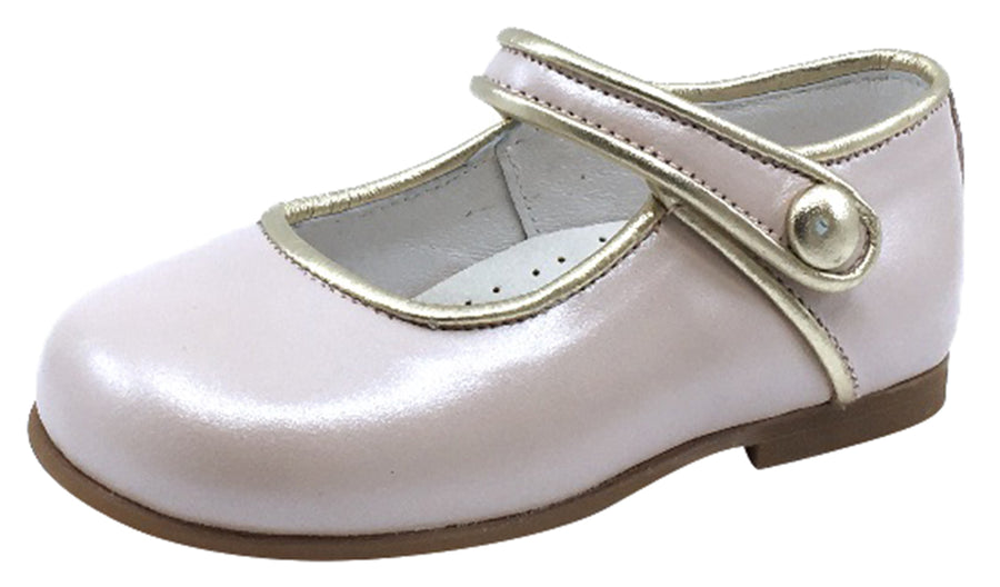 Andanines Girl's Metallic Trim Mary Jane, Rosa/Silver Trim