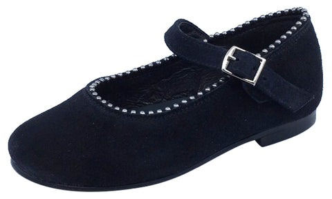 Luccini Girl's Black Suede Mary Jane with Silver Metal Ball Trim