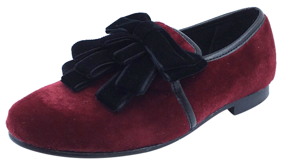 Luccini Girl's Burgundy Velvet Slip On Ribbon Dress Shoe