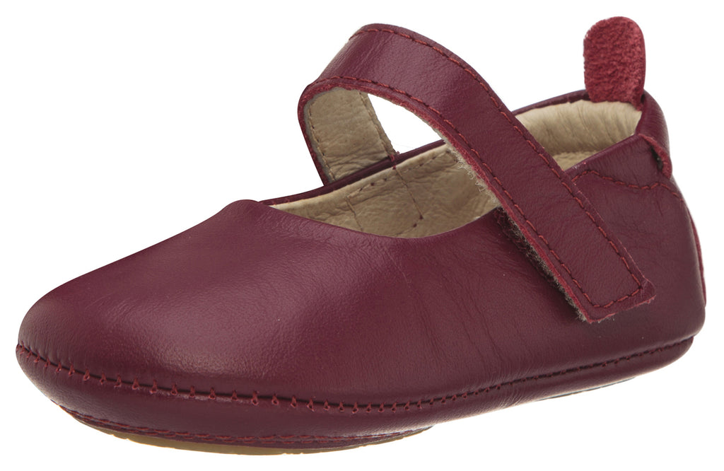 Old Soles Girl's 022 Gabrielle Burgundy Soft Leather Mary Jane Crib Walker Baby Shoes