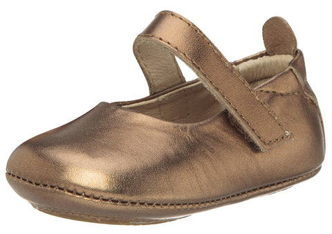 Old Soles Girl's 022 Gabrielle Old Gold Soft Leather Mary Jane Crib Walker Baby Shoes