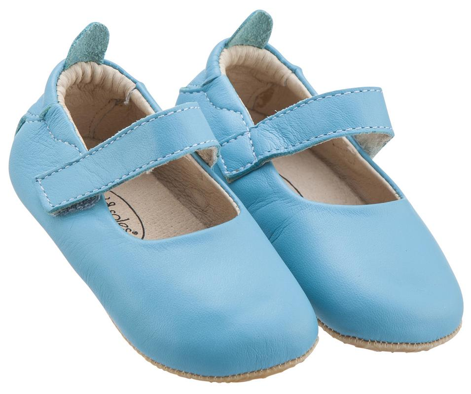 Old Soles Girl's Gabrielle Turquoise Blue Soft Leather Mary Jane Crib Walker Baby Shoes