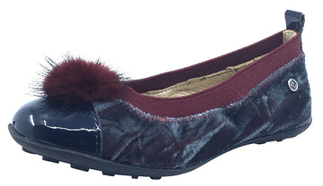 Naturino Girl's Faux Fur Pom Pom Slip-On Ballet Flat, Grey Multi Velvet