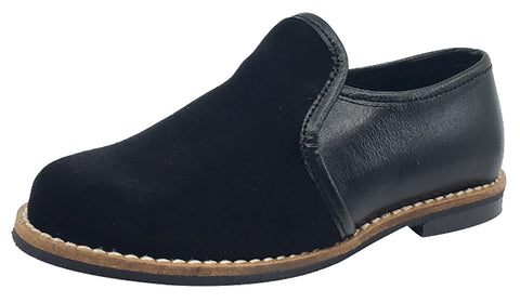 Luccini Boy's and Girl's Slip-On Loafer (Black Leather)