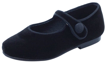 Luccini Girl's Black Velvet Mary Jane with Black Grosgrain Ribbon Trim