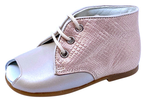 Pataletas Girl's Casiopea Leather Shoe - Tan/Pink