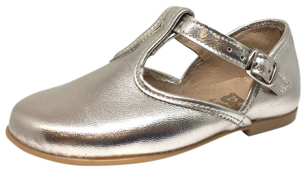 Hoo Shoes Girl's Chloe's Bright Metallic Gold T-Strap Adjustable Buckle Mary Jane Flats