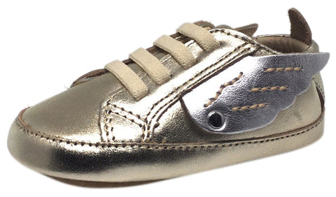 Old Soles Boy's and Girl's Gold & Silver Winged Leather Bambini Wings Elastic Lace Slip On Crib Walker Baby Shoe