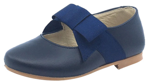 Luccini Mary Jane with Grosgrain Bow, Navy