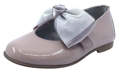 Luccini Girl's Bow Mary Jane, Nude Patent