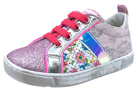 Naturino Girl's Ostenda Fashion Sneakers, Glitter/Rosa-Multi