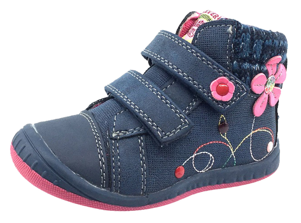 Beeko Girl's Nellie Double Hook and Loop Closure Flower Sneaker Shoes, Navy Blue