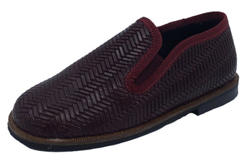 Luccini Boy's and Girl's Slip-On Smoking Loafer (Embossed Burgundy Leather)