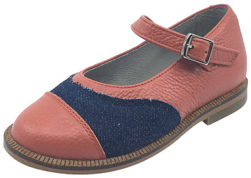 Luccini Girl's Pebble Coral and Denim Adjustable Buckle Mary Jane