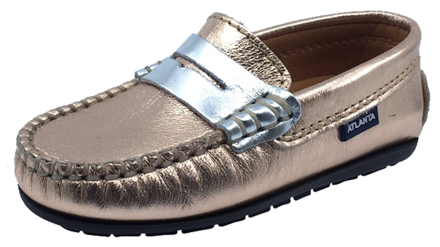 Atlanta Mocassin Girl's Leather Penny Loafers, Rose Gold/Silver