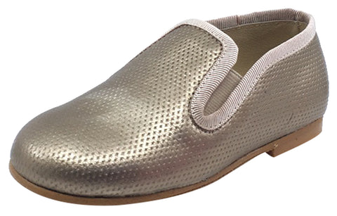 Luccini Boy's and Girl's Slip-On Smoking Loafer, Perforated Bronze
