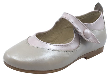 Luccini Girl's Snap Mary Jane, Pearl & Pink/Trim