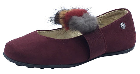 Naturino Girl's Faux Fur Pom Pom Slip-On Elastic Band Mary Jane Flat, Burgundy Suede
