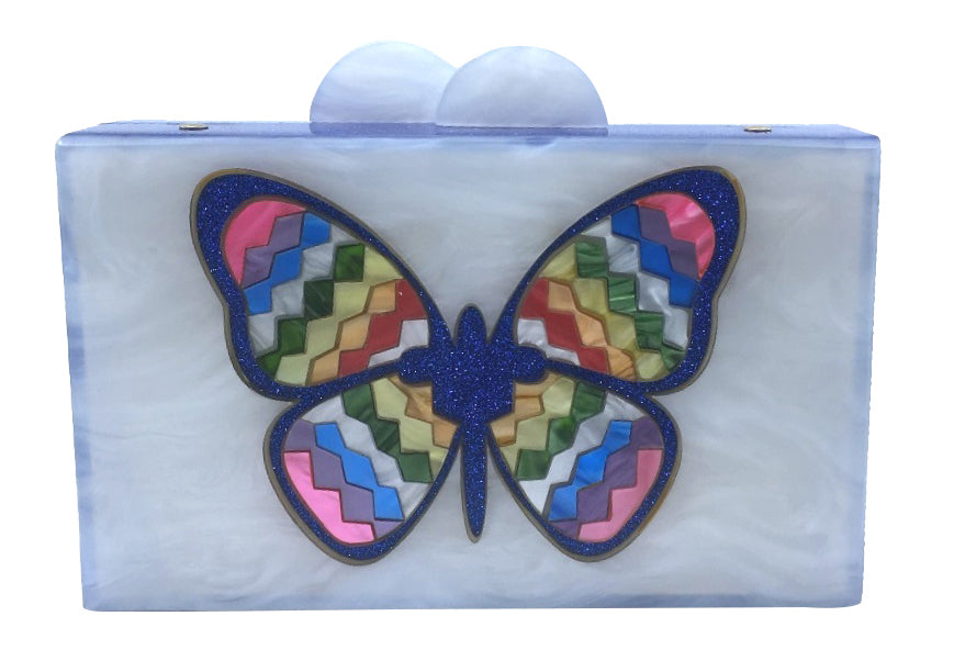 Bari Lynn Girl's Butterfly Rainbow Box Purse with Matching Chain Shoulder Strap