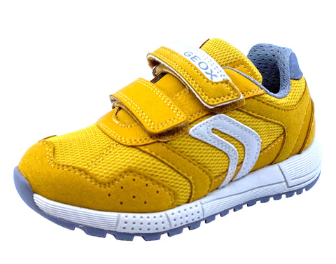 Geox Respira Boy's J Alben Double Hook and Loop Sneaker Shoes, Dark Yellow/Grey