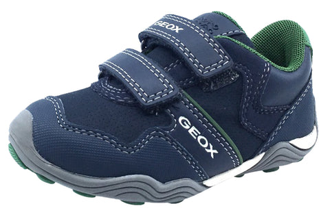 GEOX Boy's Arno Velcro Sneaker Tennis Shoes, Navy/Green
