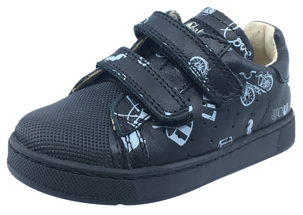 Naturino Boy's and Girl's Bree Sneaker Tennis Shoes, Black & White Print